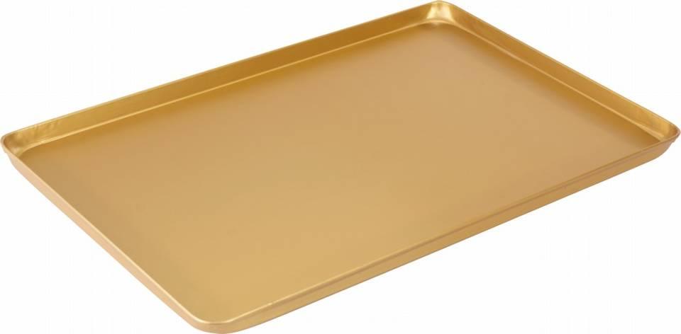 Ausstellblech und Thekenblech gold eloxiert