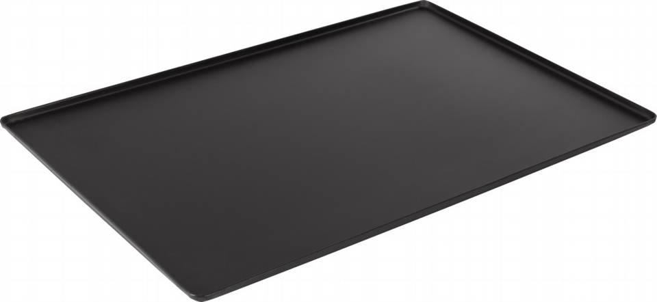 Ausstellblech und Thekenblech schwarz pulverbeschichtet